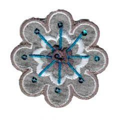 Applicatie bloem bruin met verschillende kleuren - 5st