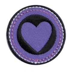 Applicatie Hart paars-zwart - 5st