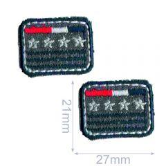 HKM Applicatie rechthoek met sterren 27x21mm - 5x2st