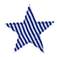 Applicatie Ster blauw gestreept - 5st