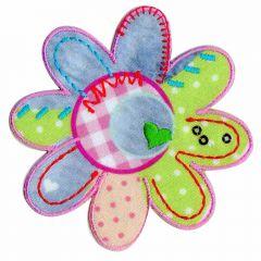 Applicatie Bloem patchwork met groen hart - 5st