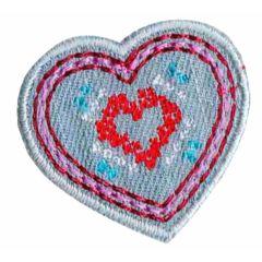 Applicatie Hart klein jeans - 5st