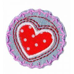 Applicatie Button met hart rood en witte stippen - 5st