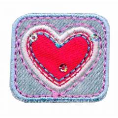 Applicatie Rechthoek met rood hart - 5st