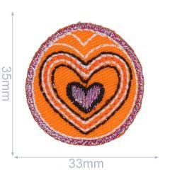 Applicatie Button met hart jeans/oranje/paars - 5st