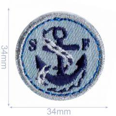 HKM Applicatie anker 34x34mm blauw - 5st