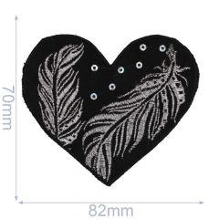 Applicatie Hart zwart met zilveren/bronzen veren - 5st