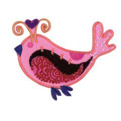 Applicatie Vogeltje roze - 5st