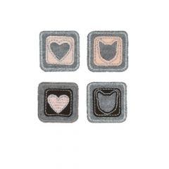 HKM Applicatie Vierkanten met hart of kat 4 stuks - 5st