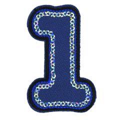 HKM Applicatie 1 blauw met pailletten - 5st