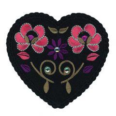 HKM Applicatie Hart zwart met bloemen - 5st