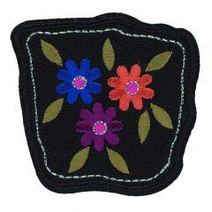 HKM Applicatie Bloemen blauw-oranje en lila - 5st