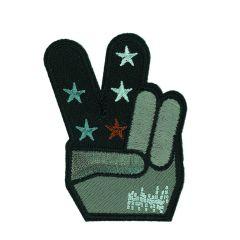 HKM Applicatie Peace Hand met blauwe/groene sterren - 5st