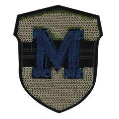 HKM Applicatie M blauw met pailletten wapen - 5st