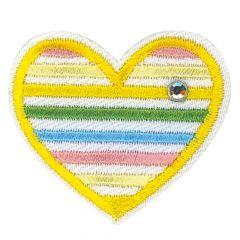 HKM Applicatie geel hart met steentjes - 5st
