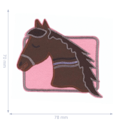 HKM Applicatie paardenhoofd in roze vierkant - 5st