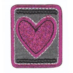 HKM Applicatie hartje glitter - 5st