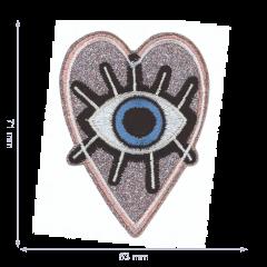 HKM Applicatie ogen in glitter hartje - 5st