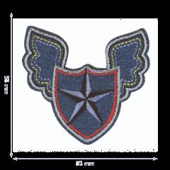 HKM Applicatie ster in schild met vleugels - 5st