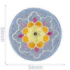 HKM Applicatie bloem in cirkel jeans - 5st