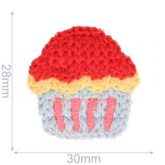 Applicatie cupcake gebreid 30x28mm - 5st