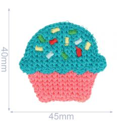 Applicatie cupcake gebreid 45x40mm - 5st