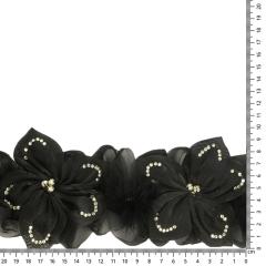 Band bloemen met strass en veren 110mm zwart - 6m