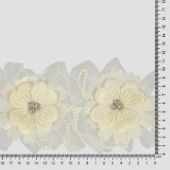 Band bloemen met strass 110mm - 10m