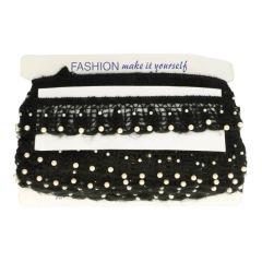 Band elastisch met parels 5.5cm - zwart en wit