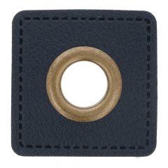 Nestels op blauw Skai-leer vierkant 8mm - 50st