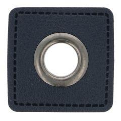 Nestels op blauw Skai-leer vierkant 11mm - 50st