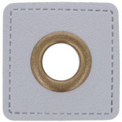 Nestels op grijs Skai-leer vierkant 8mm - 50st