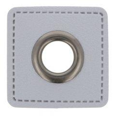 Nestels op grijs Skai-leer vierkant 11mm - 50st