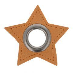 Nestels op bruin Skai-leer ster 8mm - 50st