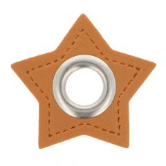 Nestels op bruin Skai-leer ster 11mm - 50st