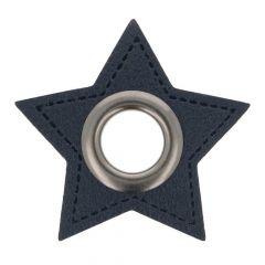 Nestels op blauw Skai-leer ster 8mm - 50st
