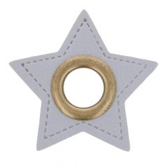 Nestels op grijs Skai-leer ster 8mm - 50st