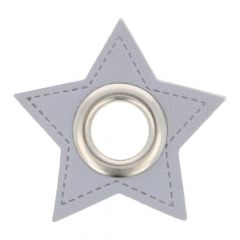 Nestels op grijs Skai-leer ster 11mm - 50st