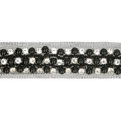 Tule met strass stenen en kralen 30mm zwart -  9,6m