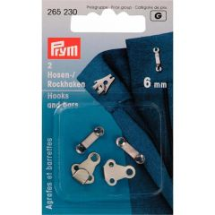 Prym Broek- en rokhaken met staafjes ST 6 mm zilver - 5st  G