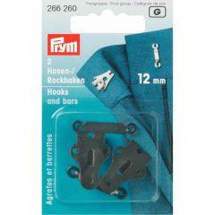 Prym Broek- en rokhaken + staafjes zw ST 12mm zwart - 5st G