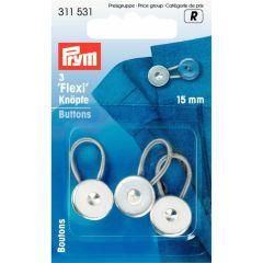 Prym Flexi-knopen met lus 15mm zilver - 5x3st