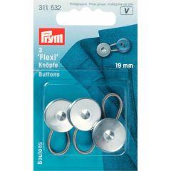 Prym Flexi-knopen met lus 19.00mm zilver - 5x3st