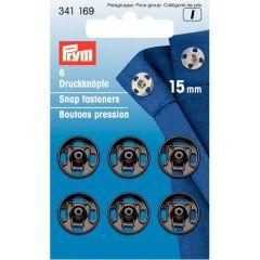 Prym Aannaaidrukknopen MS 15 en 21 mm zwart - 5st I