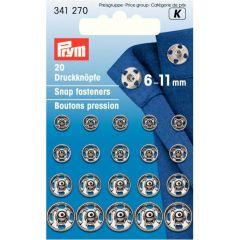 Prym Aannaaidrukknopen ms 6-11 mm, ass.zilver-zwart - 5st K