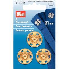 Prym Aannaaidrukknoop messing 21.00mm goud - 5x3st