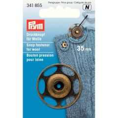 Prym Aannaaidrukknoop voor wol 35mm oudmessinig - 5st