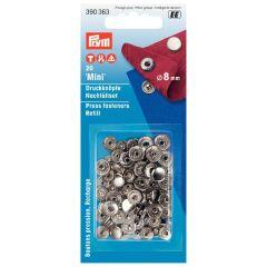 Prym Naaivrijdrukknoop navulling 8mm zilver - 5x20st