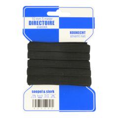 Blauwe kaart elastiek 10mm breed 5m zwart - 10st