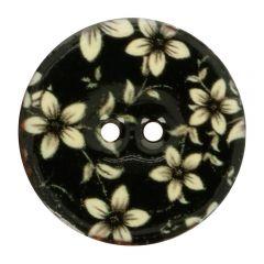 "Knoop kokos bloem  zwart-wit 44"", 48"" of 54"""